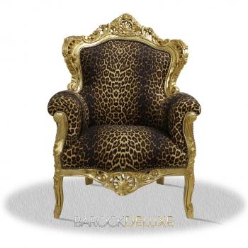 barock deluxe m bel barock sessel leoparden muster gold. Black Bedroom Furniture Sets. Home Design Ideas