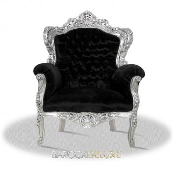 barock deluxe m bel barock sessel schwarz silber stoff. Black Bedroom Furniture Sets. Home Design Ideas