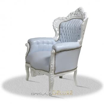 barock deluxe m bel barock sessel weiss kunstleder. Black Bedroom Furniture Sets. Home Design Ideas