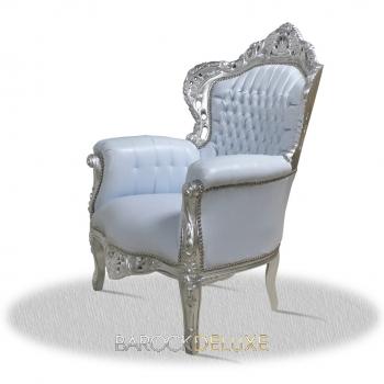 barock deluxe m bel barock sessel weiss silber kunstleder. Black Bedroom Furniture Sets. Home Design Ideas
