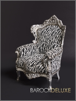 barock deluxe m bel barock sessel schwarz weiss zebra. Black Bedroom Furniture Sets. Home Design Ideas