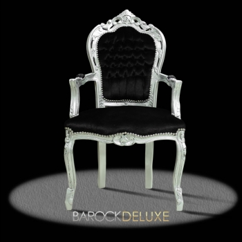 barock deluxe m bel barock stuhl rom schwarz silber. Black Bedroom Furniture Sets. Home Design Ideas