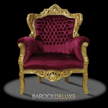 barock deluxe m bel barock sessel bordeaux rot gold. Black Bedroom Furniture Sets. Home Design Ideas