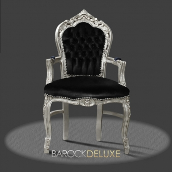 barock deluxe m bel barock stuhl rom schwarz silber kunstleder. Black Bedroom Furniture Sets. Home Design Ideas