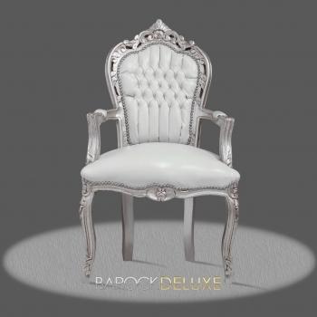 barock deluxe m bel barock stuhl rom weiss silber kunstleder. Black Bedroom Furniture Sets. Home Design Ideas