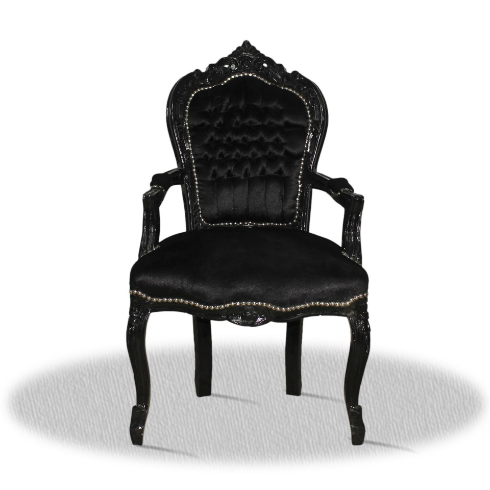barock deluxe m bel barock stuhl rom schwarz schwarz. Black Bedroom Furniture Sets. Home Design Ideas