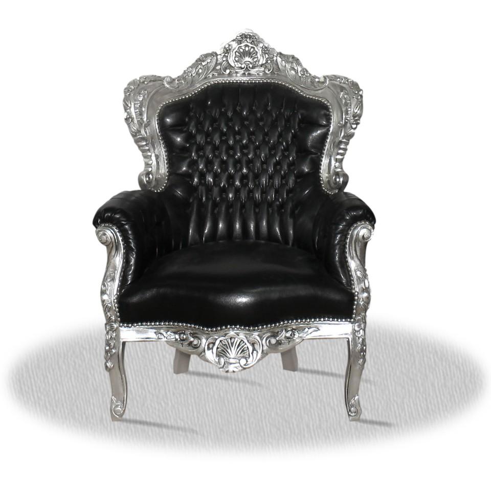 Barock Deluxe Möbel Barock Sessel Schwarz Silber Kunstleder