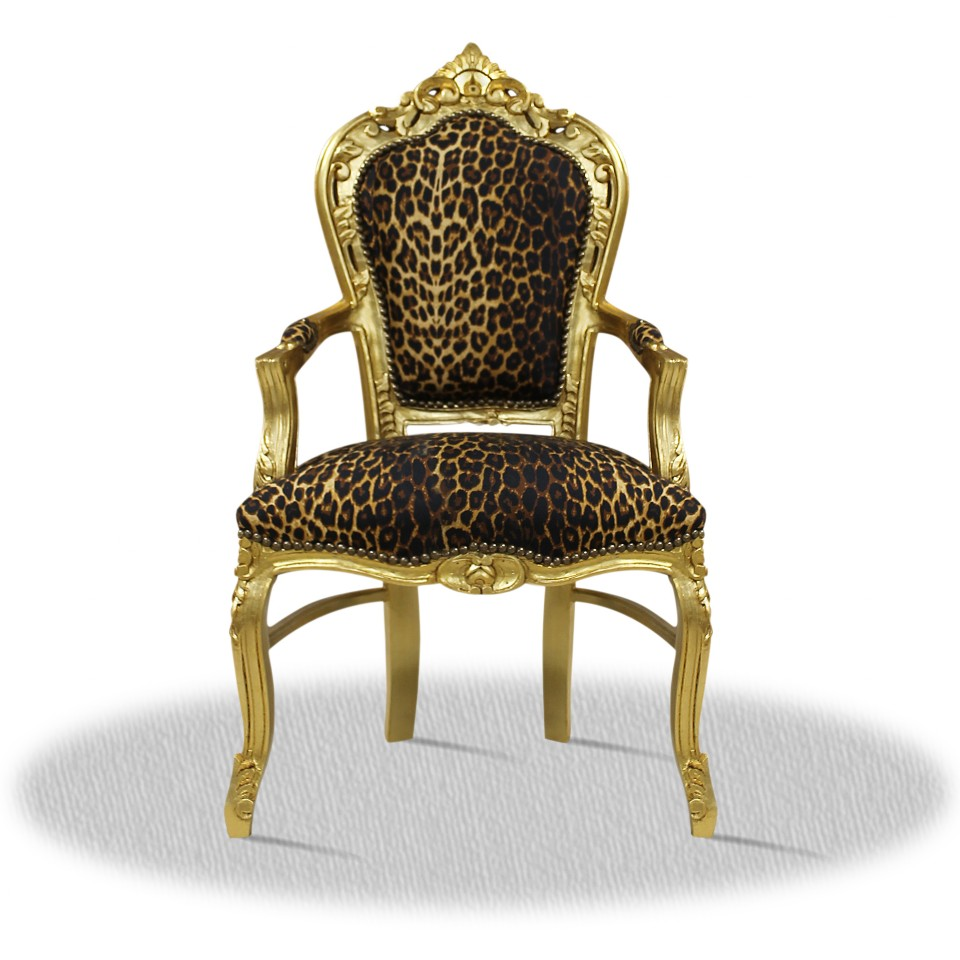 barock deluxe m bel barock stuhl rom leoparden muster gold. Black Bedroom Furniture Sets. Home Design Ideas