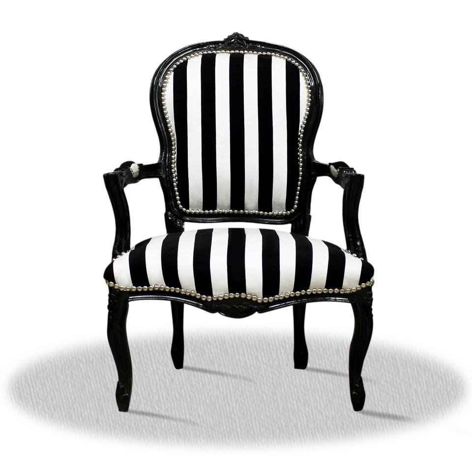 barock deluxe m bel barock salonstuhl schwarz weiss schwarz. Black Bedroom Furniture Sets. Home Design Ideas