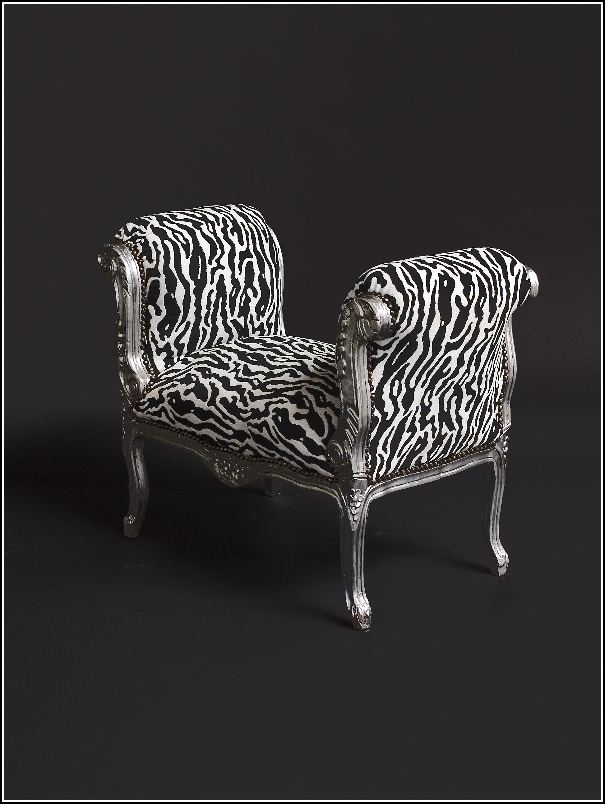 barock deluxe m bel barock sitzbank zebra schwarz weiss silber. Black Bedroom Furniture Sets. Home Design Ideas