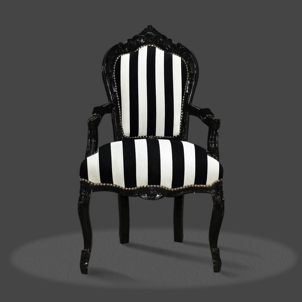 Barock Deluxe Möbel Barock Stuhl Rom schwarz weiss schwarz
