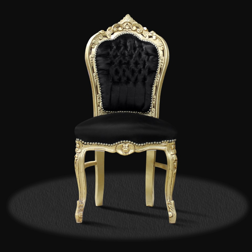 Barock Deluxe Möbel Barock Stuhl Milano schwarz gold