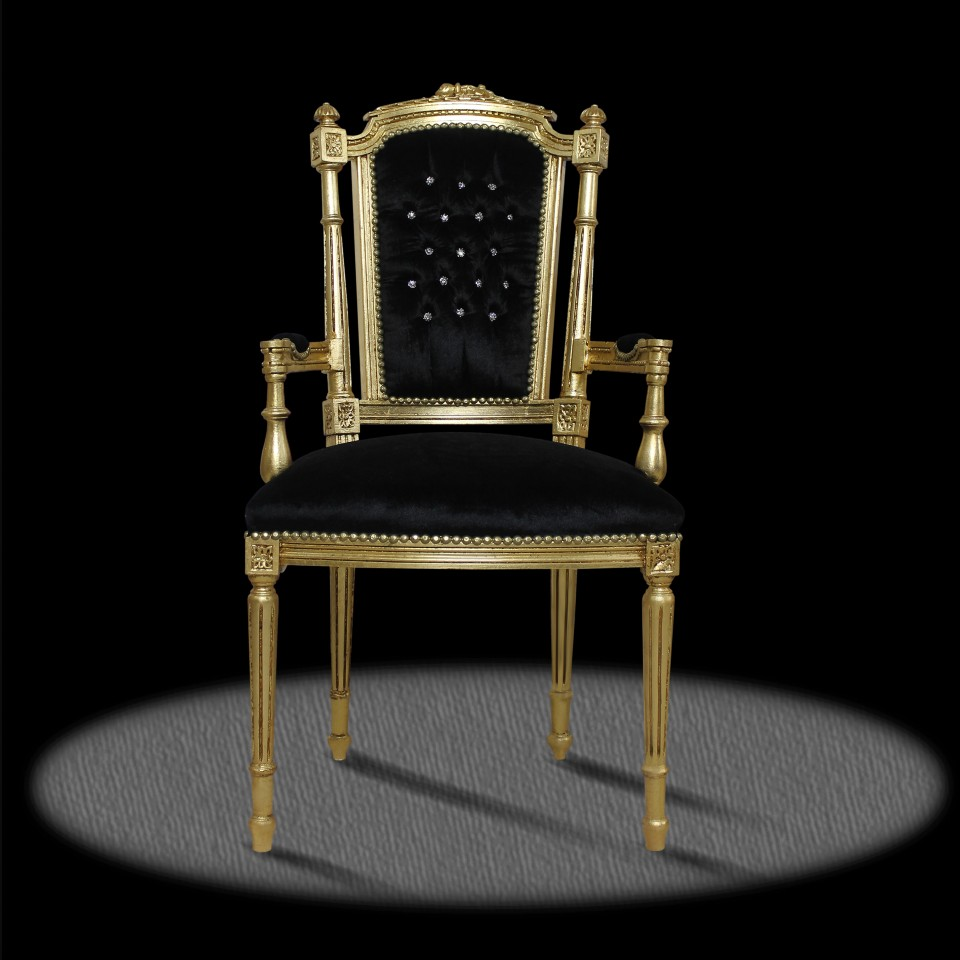barock deluxe m bel barock stuhl extravagant schwarz gold mit diamanten. Black Bedroom Furniture Sets. Home Design Ideas