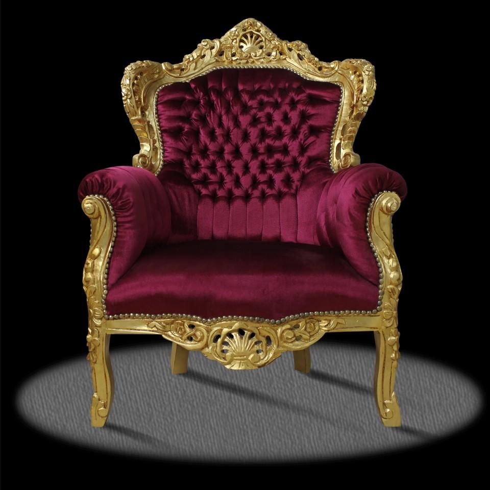 Rot Deluxe Gold Möbel Sessel Bordeaux Barock wPN80OXkn
