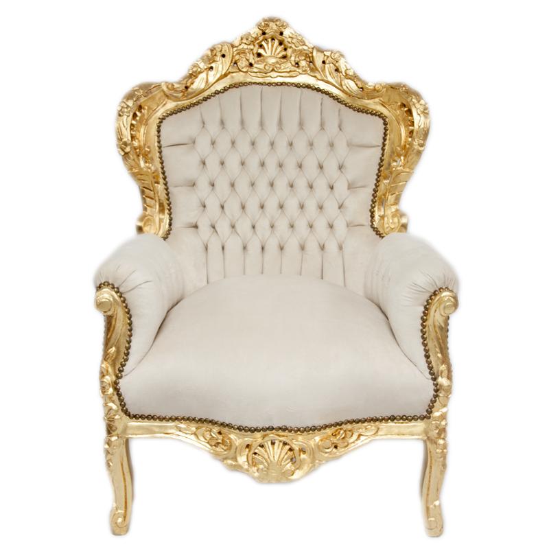 Barock Deluxe Möbel Barock Sessel weiss gold Kunstleder
