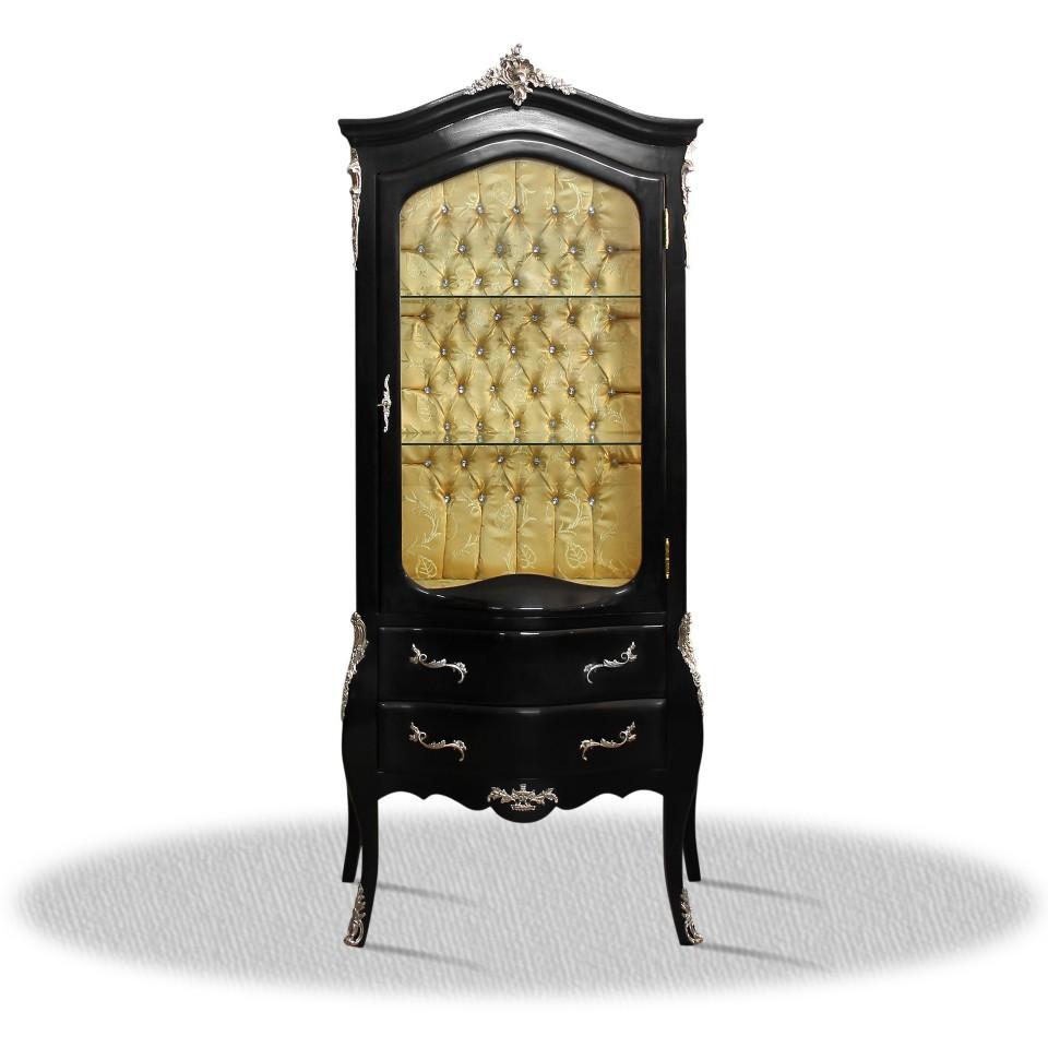 barock deluxe m bel barock vitrine schwarz. Black Bedroom Furniture Sets. Home Design Ideas