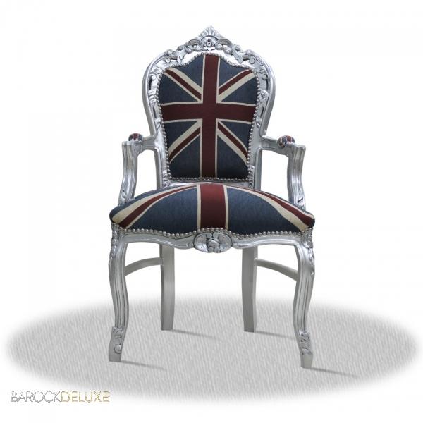 barock stuhl im england flagge muster silber repro holz esszimmer modern vintage ebay. Black Bedroom Furniture Sets. Home Design Ideas