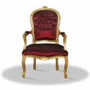 Barock Salonstuhl bordeaux rot/ gold